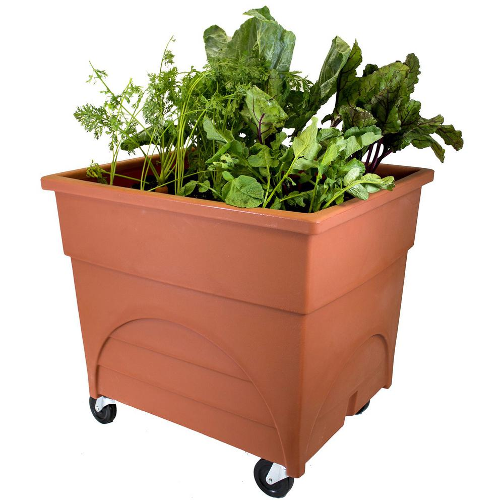 Emsco City Pickers Root Picker Raised Bed Vegetable Grow Box In Terra Cotta With Casters