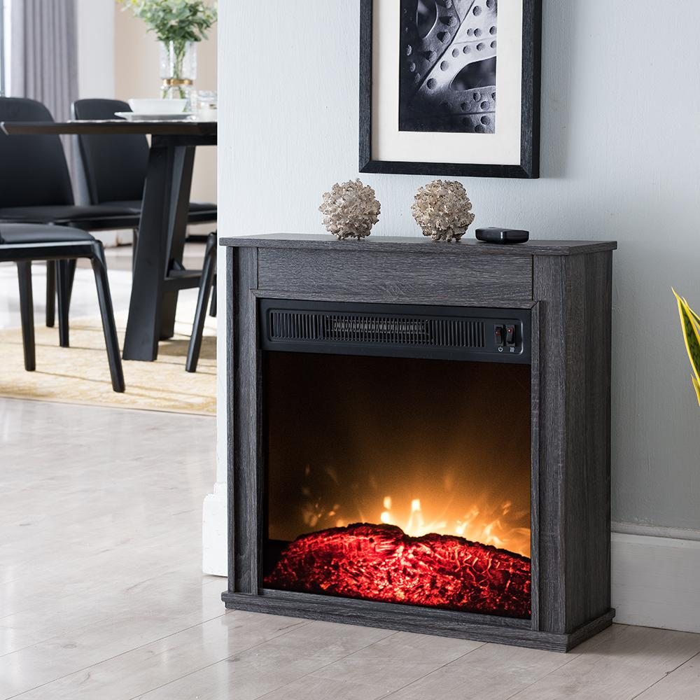 Hampton Bay 23 In Compact Electric Fireplace In Black Sp5969 The