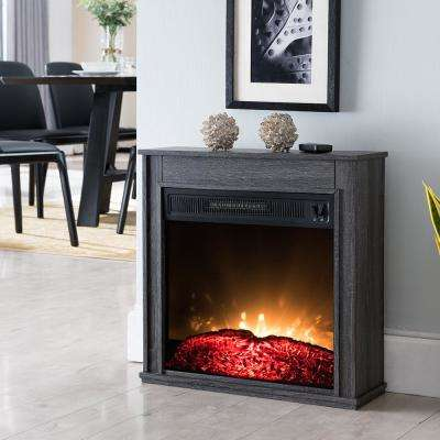 23 in. Compact Electric Fireplace in Black