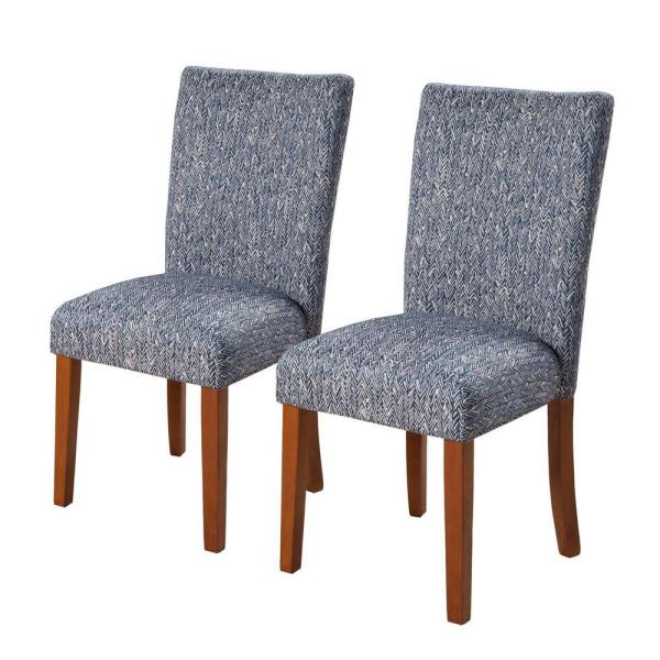 Parsons Blue and Cream Upholstered Dining Chair Set of 2