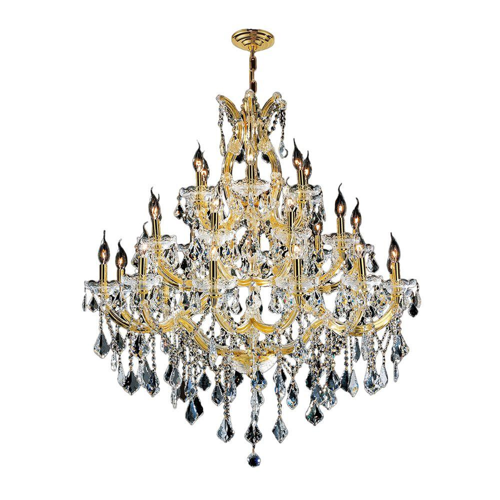 Worldwide Lighting Maria Theresa 28 Light Polished Gold And Clear Crystal Chandelier