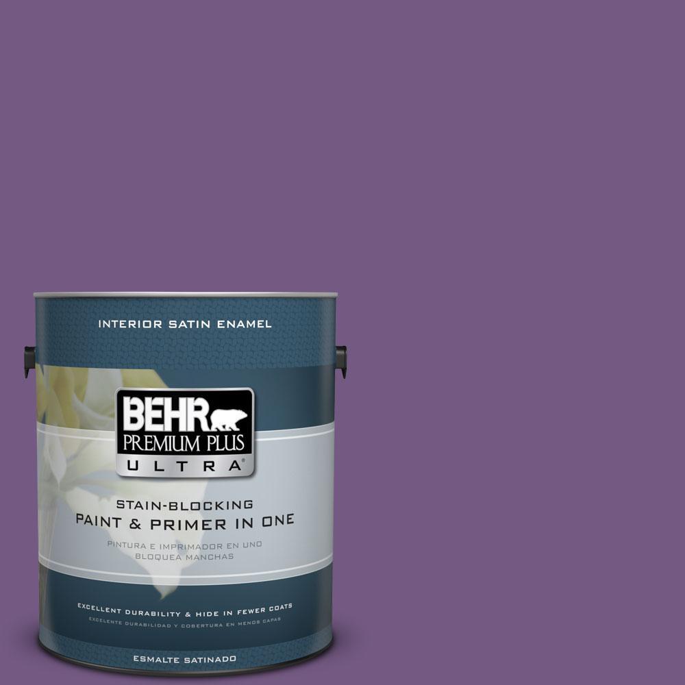 1 gal. #650B-7 Mystical Purple Satin Enamel Interior Paint and Primer