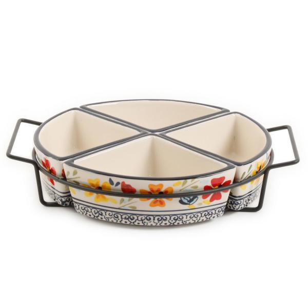 GIBSON elite Luxembourg 5-Piece Divided Serving Dish Set with Metal Rack