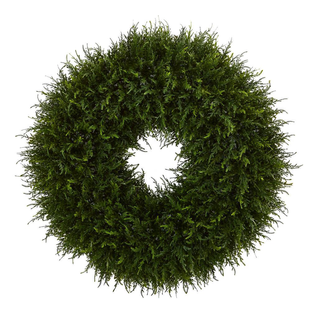 32 in. Indoor Giant Cedar Artificial Wreath