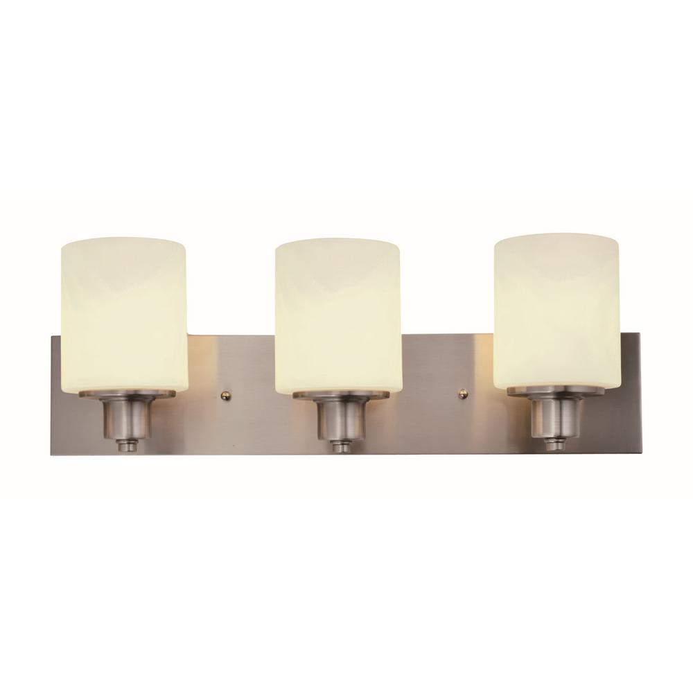Dane 3-Light Satin Nickel Vanity Light
