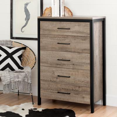 Munich 5-Drawer Weathered Oak Chest of Drawers