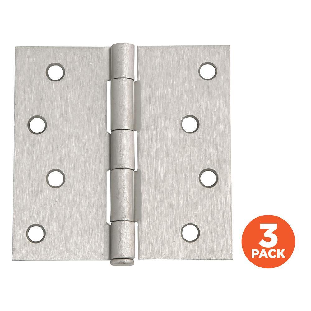 4 in. Square Corner Satin Nickel Door Hinge Value Pack (3 per Pack)
