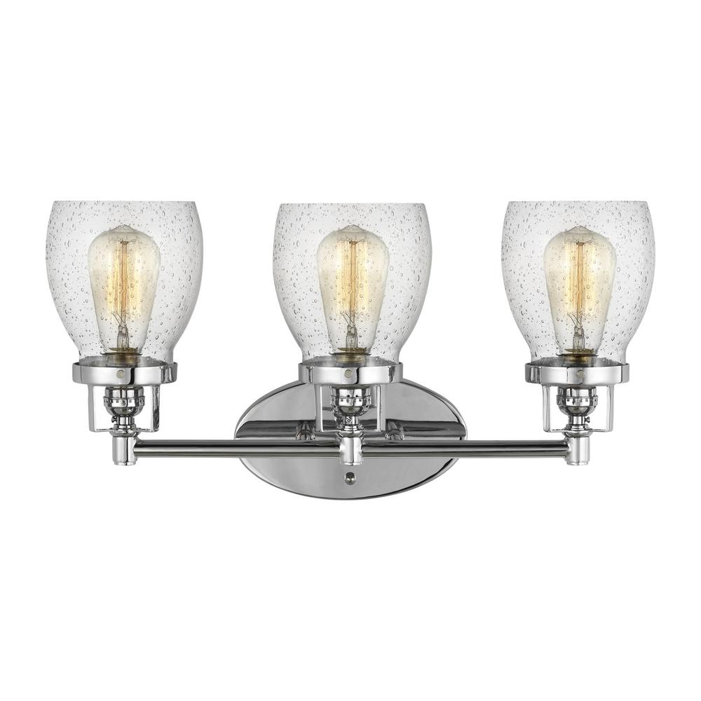 Sea Gull Lighting Belton 21 in. 3-Light Chrome Vanity Light with Clear Seeded Glass Shades was $181.9 now $109.14 (40.0% off)