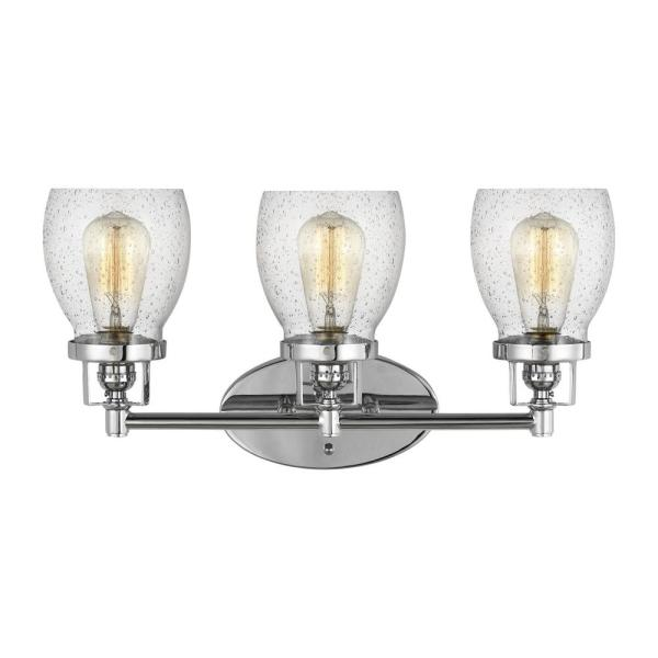 Belton 21 in. 3-Light Chrome Vanity Light with Clear Seeded Glass Shades