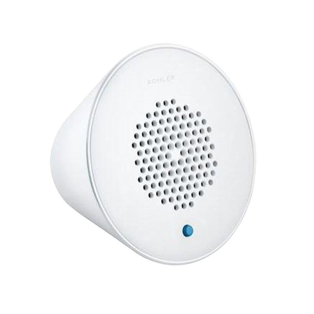 KOHLER Moxie Wireless Speaker in White The Moxie Wireless Showerhead speaker streams your personalized music playlists, news and other audio. It syncs with Bluetooth-enabled devices including smart phones, MP3 players, tablets and laptops located up to 32 ft. away. This includes the wireless speaker and a micro USB charging cable. Color: White.