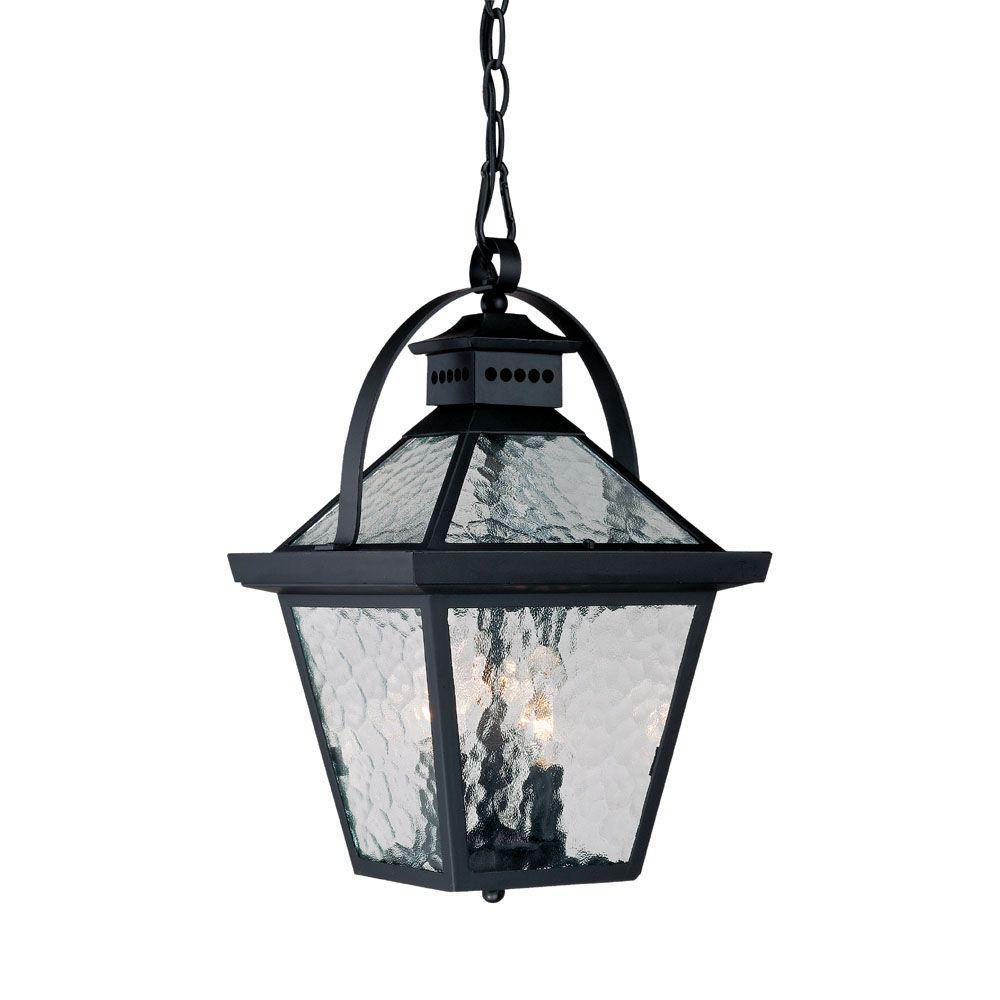 Bay Street Collection 3-Light Matte Black Outdoor Hanging Lantern