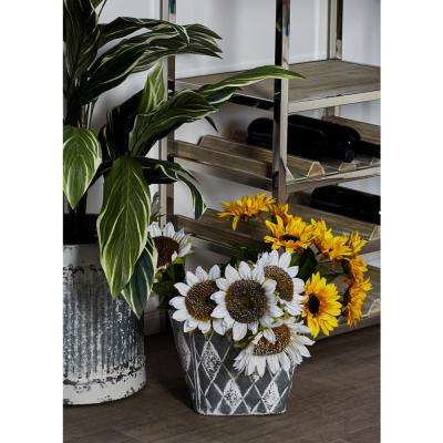 Silver Iron Planters with White Accents (Set of 3)