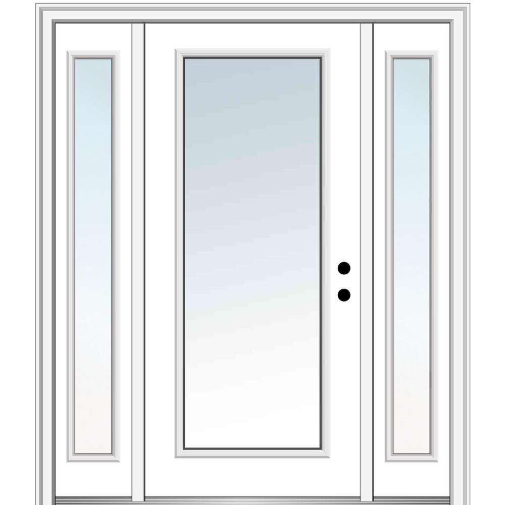 MMI Door 64.5 in. x 81.75 in. Classic Left-Hand Inswing Full Lite Clear Painted Steel Prehung Front Door with Sidelites