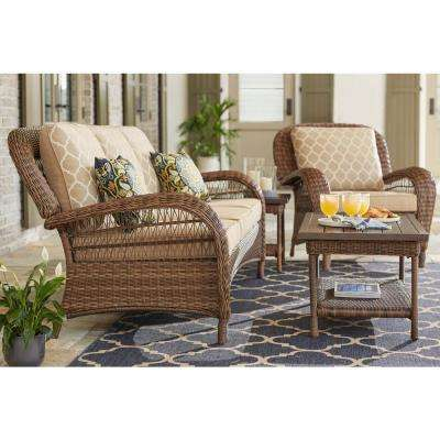Beacon Park Steel Wicker Outdoor Sofa With Toffee Trellis Cushions