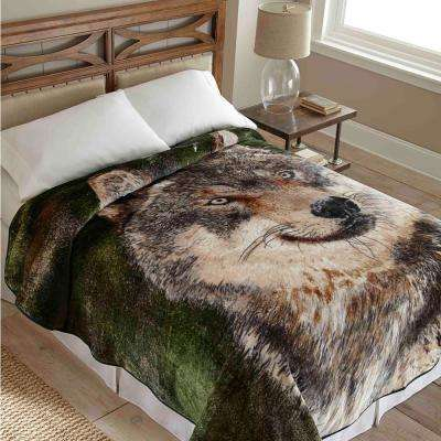 90 in. x 90 in. High Pile Wolf Raschel Knit Coverlet