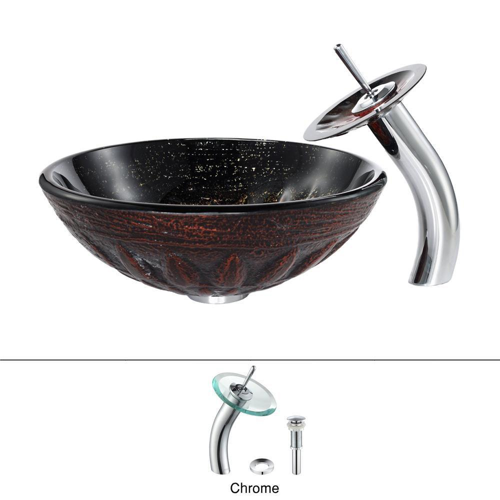 KRAUS Magma Glass Vessel Sink in Brown with Waterfall Faucet in Chrome