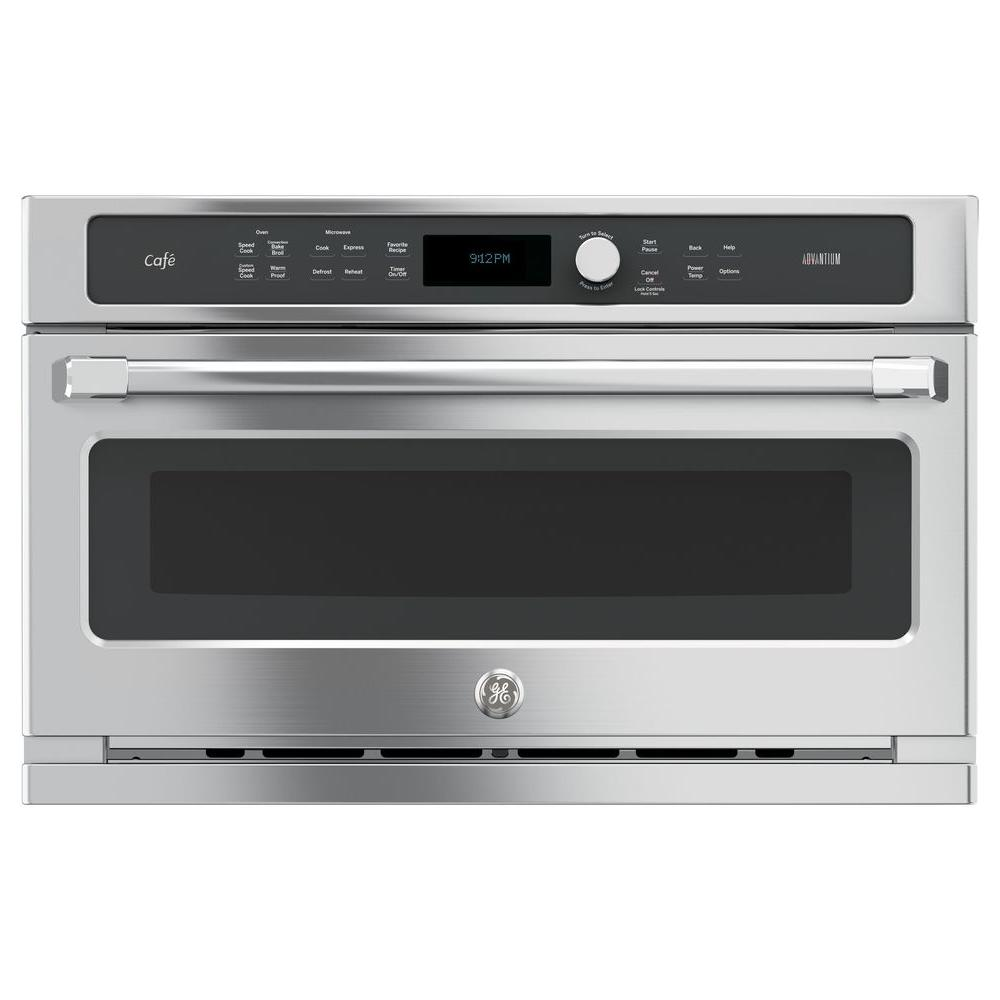 Cafe 30 In Single Electric Wall Oven With Advantium Cooking Stainless Steel