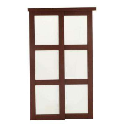 Nice 2310 Series Composite 3 Lite Tempered Frosted Glass Composite Cherry Interior  Sliding Door