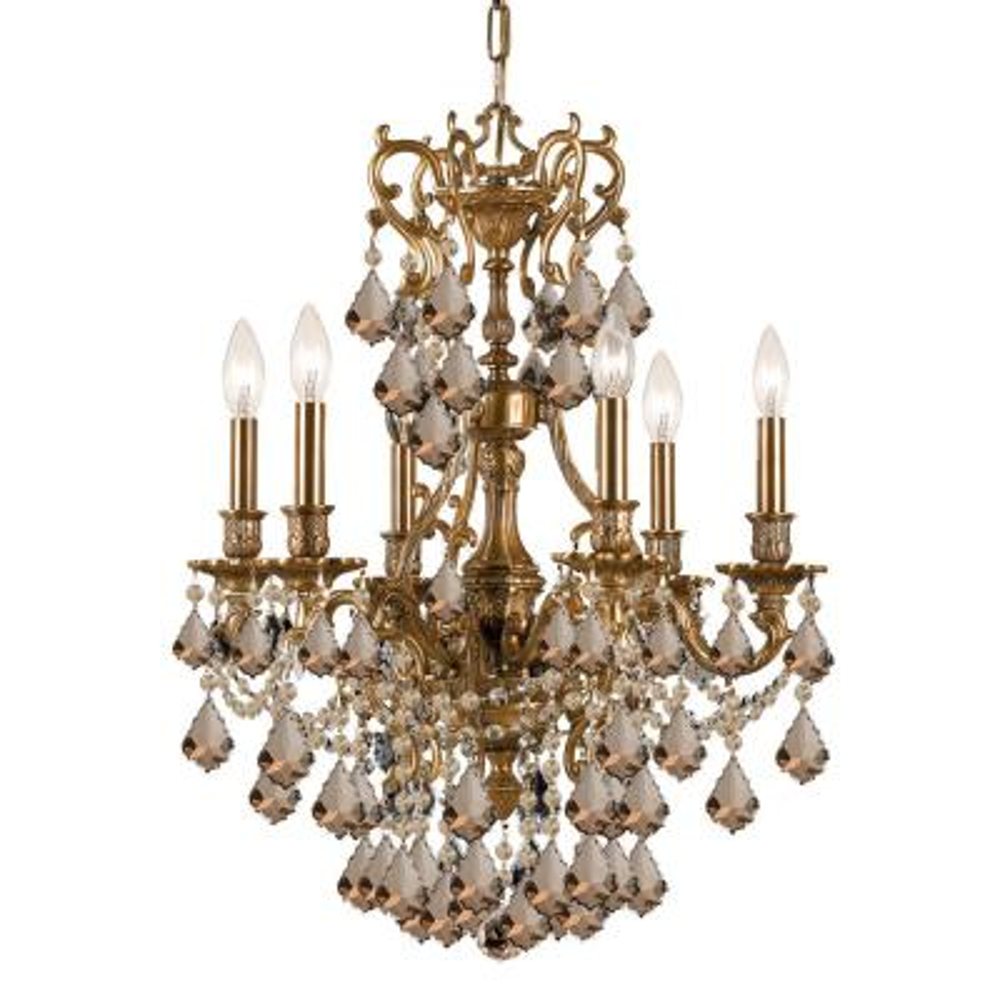 6-Light Aged Brass Chandelier