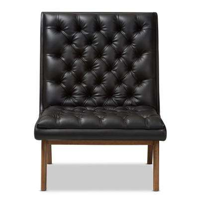 Annetha Black Faux Leather Upholstered Lounge Chair