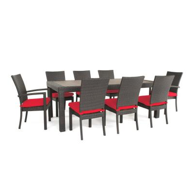 Deco 9-Piece Patio Dining Set with Sunset Red Cushions
