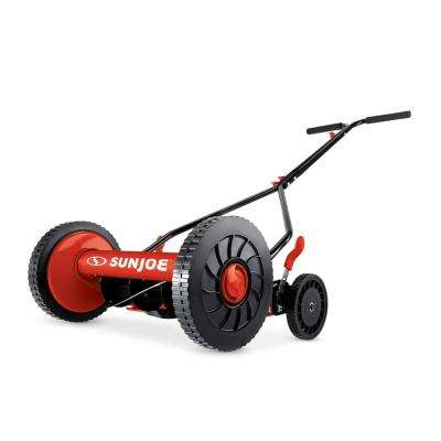 14 in. Classic Quad Wheel 9-Position Manual Walk-Behind Reel Mower, Red