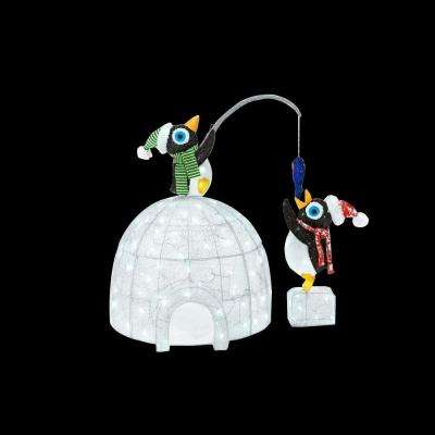 48 in. LED Lighted Tinsel and Acrylic Igloo with Fishing Penguins