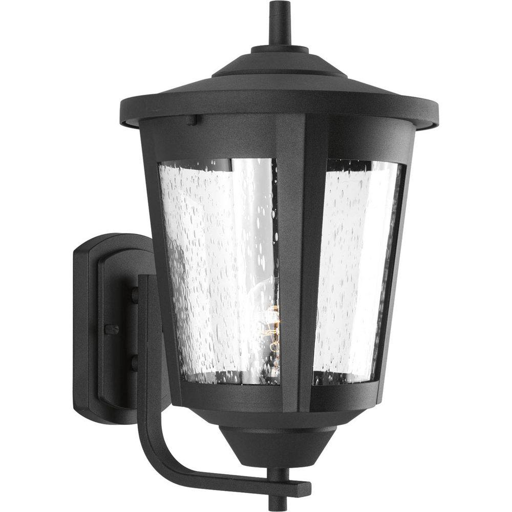 East Haven Collection 1-Light 9.5 in. Black Outdoor Wall Lantern