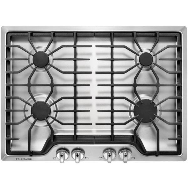 30 in. Gas Cooktop in Stainless Steel with 4 Burners