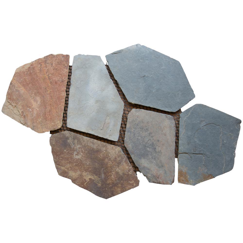 Santa Barbara 2.75 sq. ft. Natural Slate Meshed Flagstone Paver Tile (48-Pieces/132 sq. ft. /Pallet)