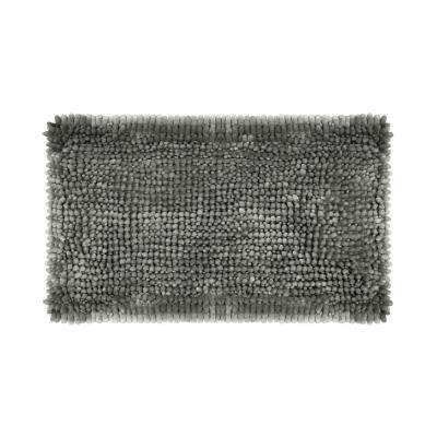Butter Chenille 27 in. x 45 in. Bath Mat in Charcoal