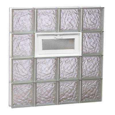 31 in. x 31 in. x 3.125 in. Frameless Ice Pattern Vented Glass Block Window