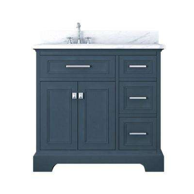 Yorkshire 37 in. W x 22 in. D Bath Vanity in Gray with Marble Vanity Top in White with White Basin