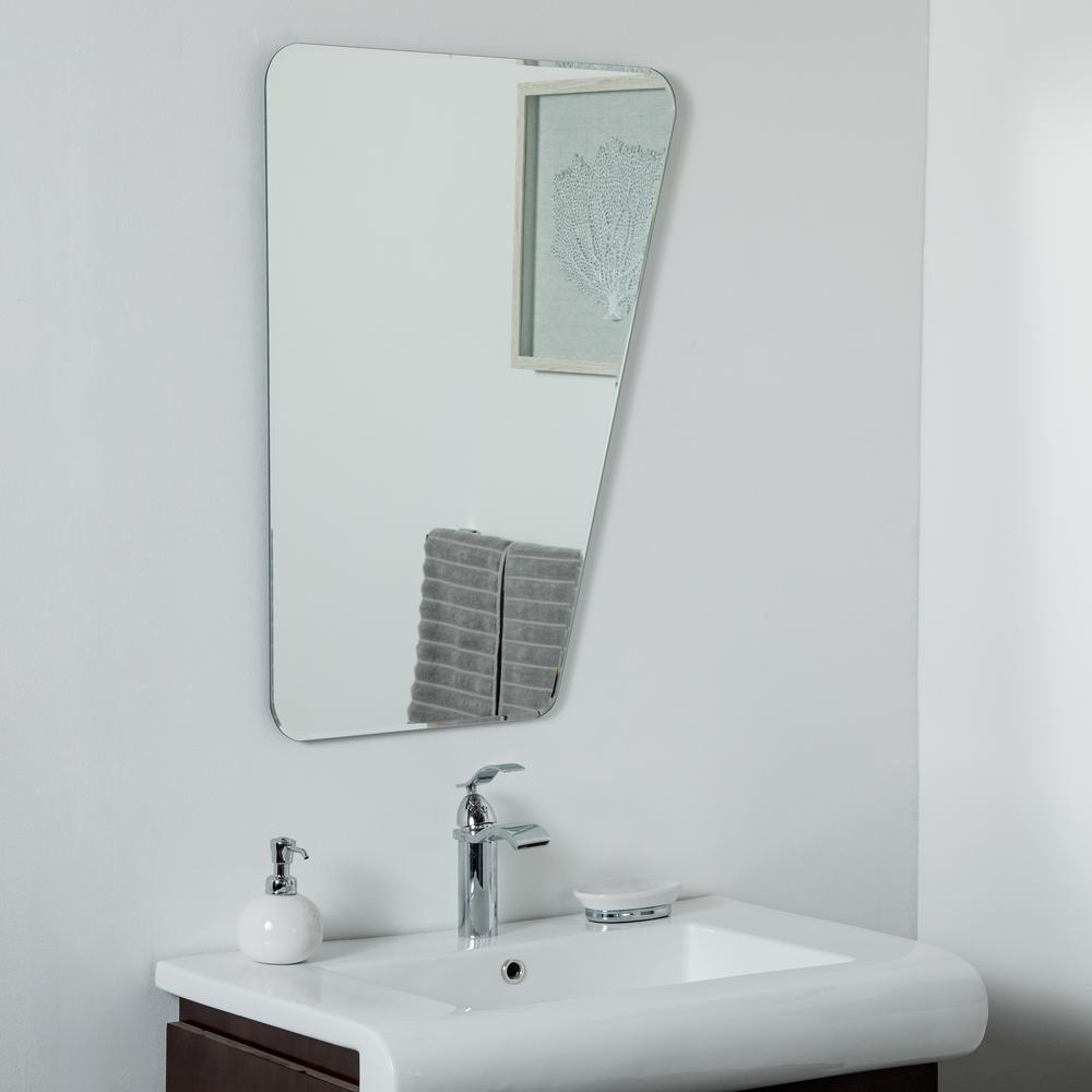 23 in. W x 32 in. H Frameless Rectangular Beveled Edge Bathroom Vanity Mirror in Silver