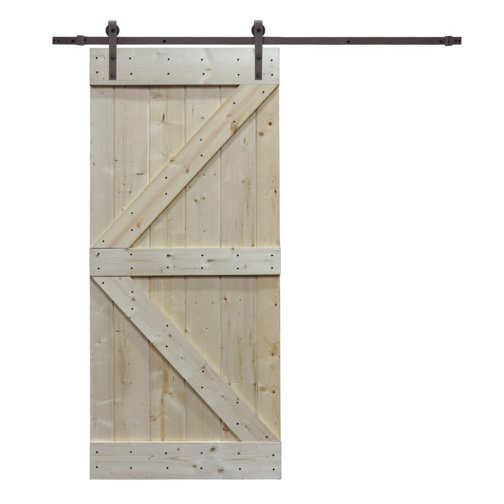 CALHOME 38 in. x 84 in. K Design Knotty Pine Wood Barn Door with Sliding Door Hardware Kit, Unfinished was $426.79 now $259.0 (39.0% off)