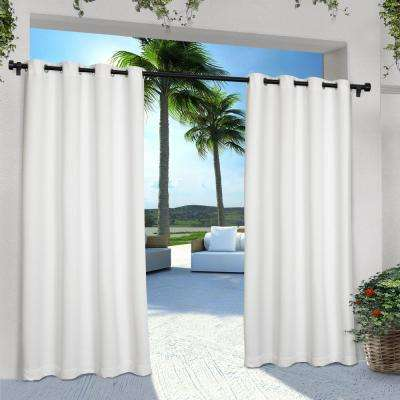 Indoor Outdoor Solid 54 in. W x 108 in. L Grommet Top Curtain Panel in Winter White (2 Panels)