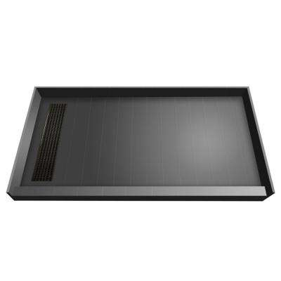 34 in. x 60 in. Single Threshold Shower Base with Left Drain in Gray and Oil Rubbed Bronze Trench Grate