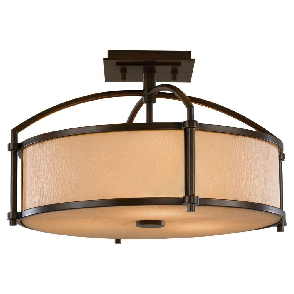 Preston 3-Light Heritage Bronze Semi-Flush Mount