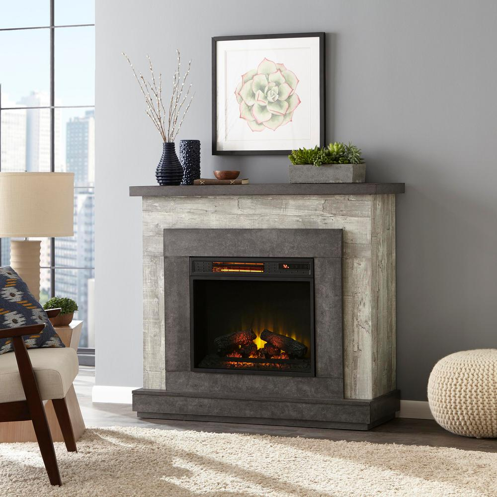 Home Decorators Collection Home Decorators Collection Wildercliff 45 in. Freestanding Wall Mantel Electric Fireplace in Driftwood, Brown