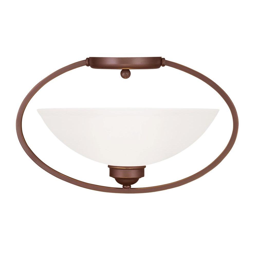 Livex Lighting Providence 1-Light Ceiling Vintage Bronze Incandescent Semi-Flush Mount