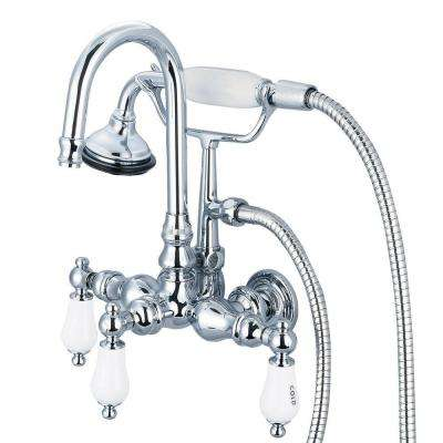 3-Handle Claw Foot Tub Faucet with Labeled Porcelain Lever Handles and Hand Shower in Triple Plated Chrome