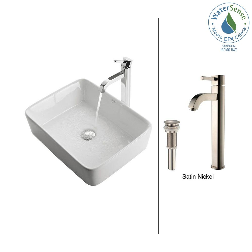 Rectangular Ceramic Vessel Sink in White with Ramus Faucet in Satin