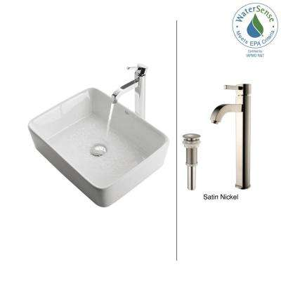 Rectangular Ceramic Vessel Sink in White with Ramus Faucet in Satin Nickel