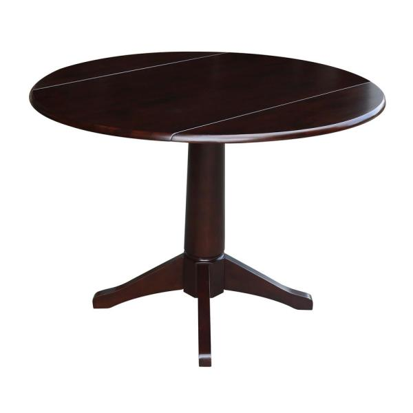 International Concepts Olivia Mocha 42 in. Drop-Leaf Dining Table K15-42DPT-27B