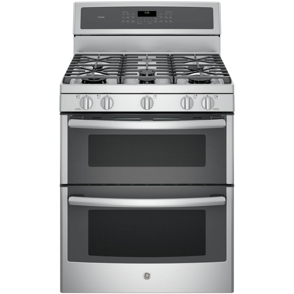 Ge profile 30 in 6 8 cu ft double oven gas range with self cleaning convection oven lower - Gas stove double oven reviews ...