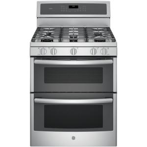 GE Profile 30 inch 6.8 cu. ft. Double Oven Gas Range with Self-Cleaning Convection Oven (Lower Oven) in Stainless Steel by GE