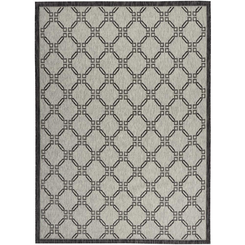 Garden Party Ivory/Charcoal 10 ft. x 13 ft. Geometric Coastal Indoor/Outdoor Area Rug