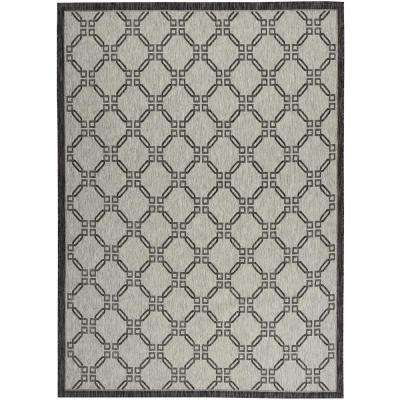 Country Side Ivory/Charcoal 9 ft. 6 in. x 13 ft. Indoor/Outdoor Area Rug