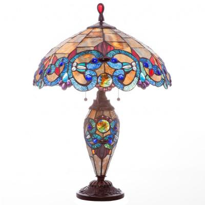 26 in. Amber Indoor Table Lamp with Stained Glass Victorian Style Shade and Lit Base