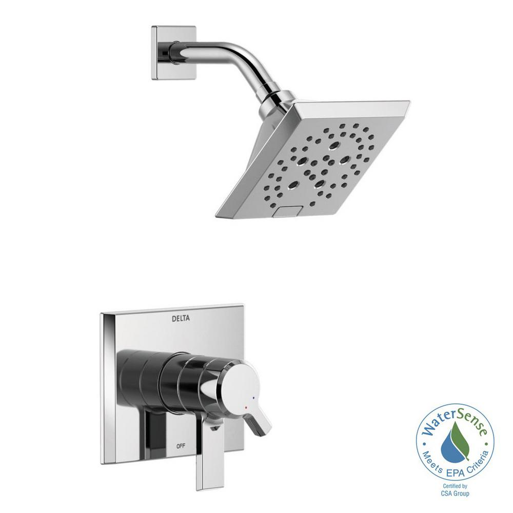Delta Pivotal 1-Handle Wall-Mount Shower Trim Kit with H2Okinetic Technology in Chrome (Valve Not Included)